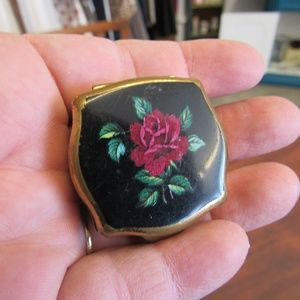 Vintage Black and Red Brass Pill Box